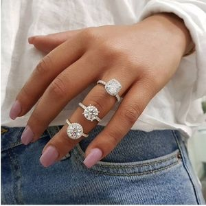 Jewelry - PREVIEW Round Crystal Diamond Engagement 925 Ring